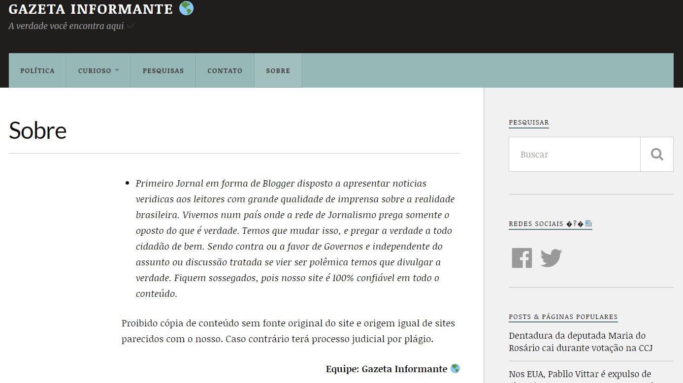 Print do site Gazeta Informante de 28 de abril