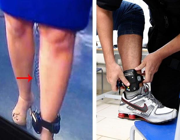 Comparação transmissor de microfone e tornozeleira eletrônica