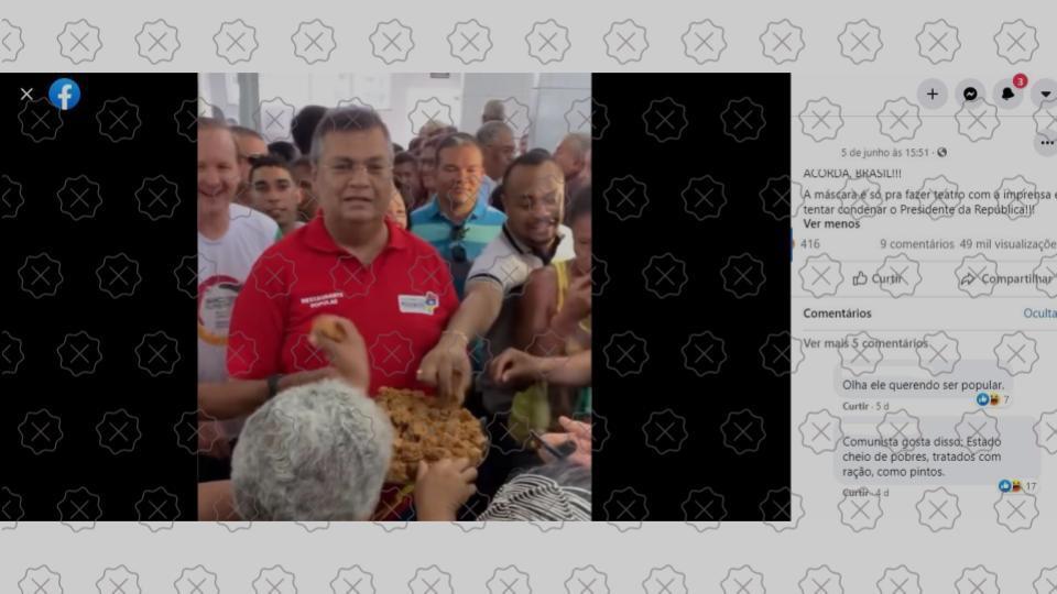 Imagem da tela de postagem do Facebook com foto do governador do Maranhão Flavio Dino tira da de contexto