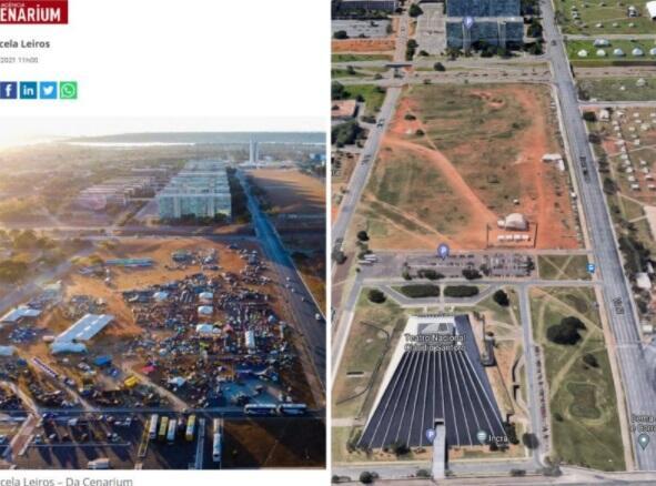 À esquerda, foto aérea da Agência Cenarium. A direita, imagem do Google Maps