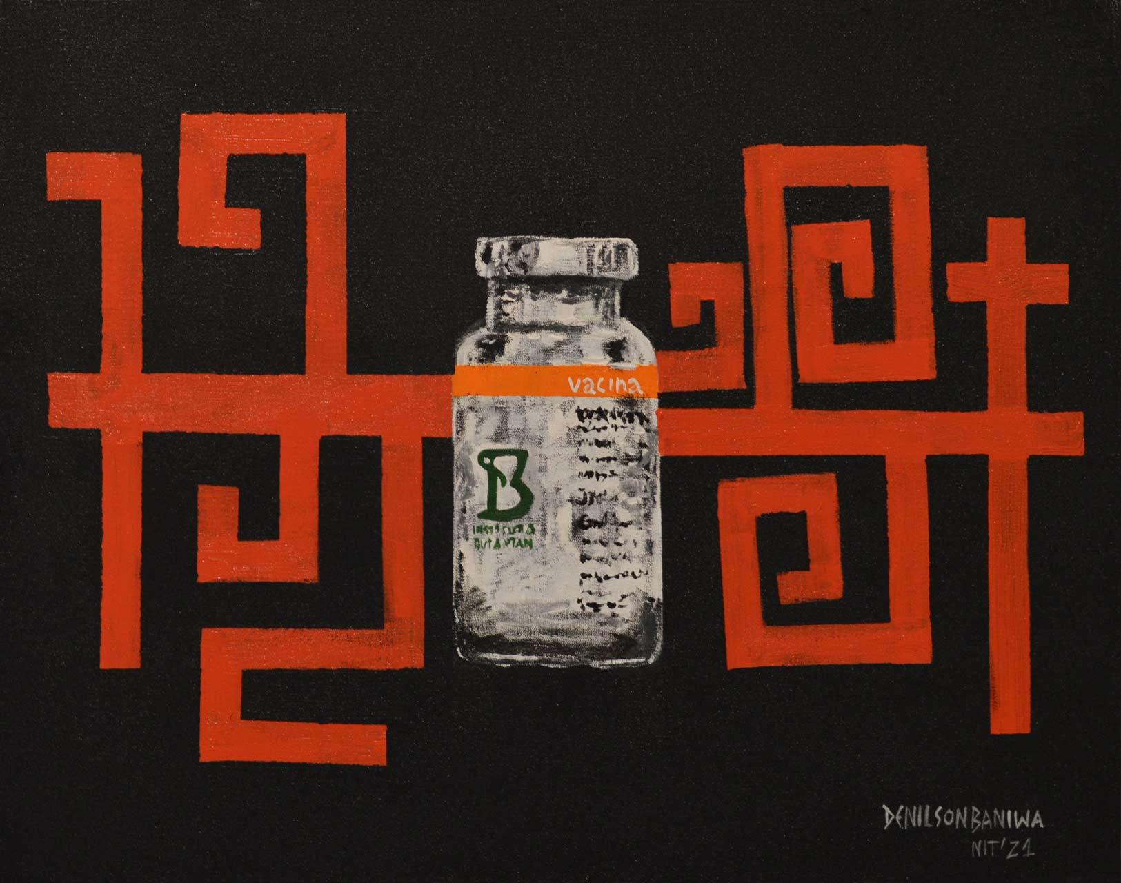 Vidro de vacina da Coronavac fabricada pelo Butantã ao fundo com grafismos indígenas em vermelho