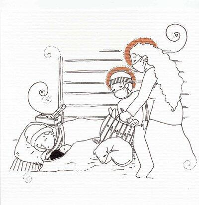 Ilustração representa uma mulher e uma criança, ambos de máscara, levando uma cesta de alimentos a um morador de rua adormecido.