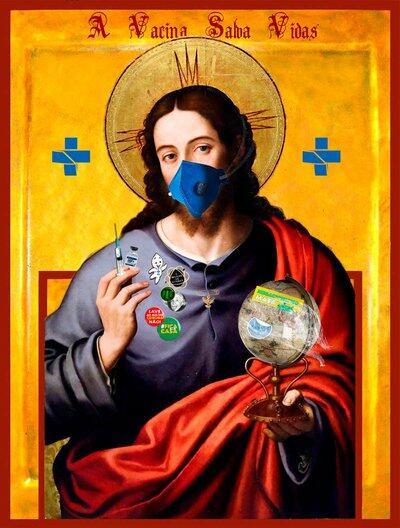 Imagem de Jesus Cristo usando máscara e segurando uma vacina e um globo terrestre