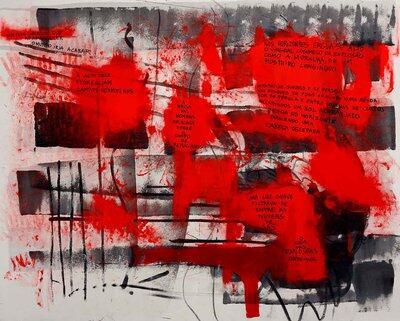 """Pintura abstrata em preto e vermelho onde lê-se frases sobre um momento tenso como: """"bem cedo comunicou que ao amanhecer o mundo iria acabar"""""""