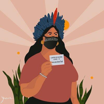 Uma mulher indígena da etnia Tuxá segura um cartão de vacinação