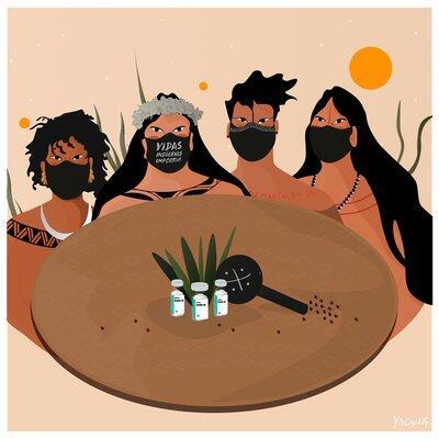 Mulheres indígenas em volta de uma mesa com um chocalho, penas, sementes e vacinas